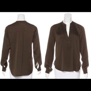 Vince. Taupe/Olive silk blouse Small